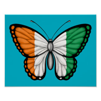 Ivory Coast Butterfly Flag Posters