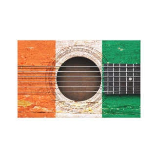 Ivory Coast Flag on Old Acoustic Guitar Gallery Wrapped Canvas