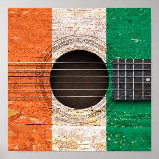 Ivory Coast Flag on Old Acoustic Guitar Print