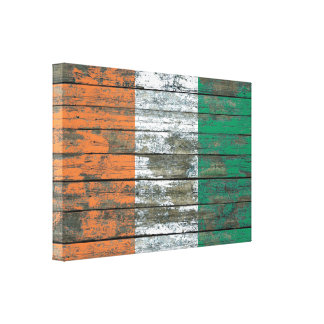 Ivory Coast Flag on Rough Wood Boards Effect Stretched Canvas Print