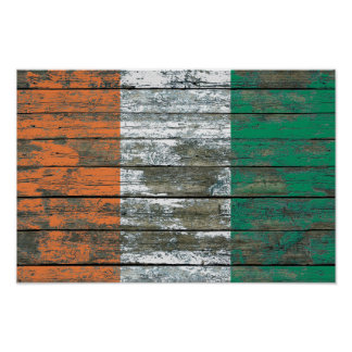 Ivory Coast Flag on Rough Wood Boards Effect Poster