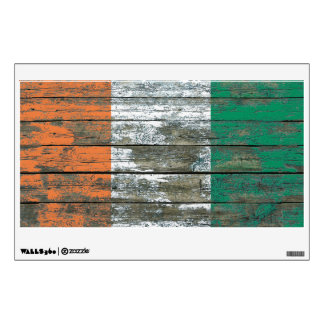 Ivory Coast Flag on Rough Wood Boards Effect Wall Graphic