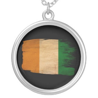 Ivory Coast Flag Round Pendant Necklace