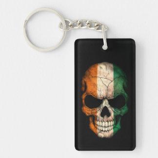 Ivory Coast Flag Skull on Black Double-Sided Rectangular Acrylic Keychain