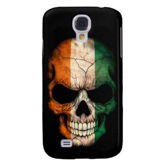 Ivory Coast Flag Skull on Black Samsung Galaxy S4 Case