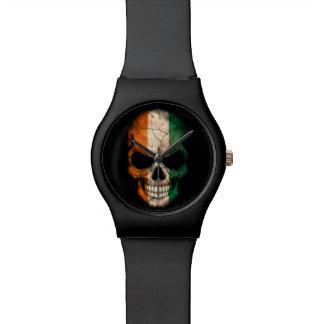 Ivory Coast Flag Skull on Black Watch