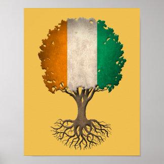 Ivory Coast Flag Tree of Life Customizable Poster
