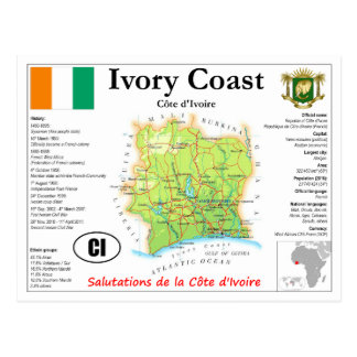 Ivory Coast map Postcard