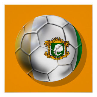 Ivory Coast soccer ball - Côte d'Ivoire football Poster