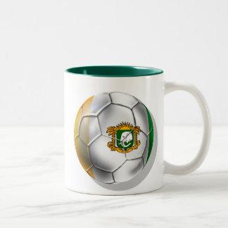 Ivory Coast soccer ball - Côte d'Ivoire football Two-Tone Coffee Mug