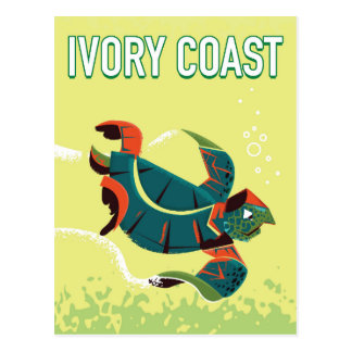 Ivory coast vintage travel poster postcard