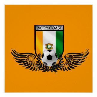 Ivory Coast Winged Les Elephants fans shield Poster