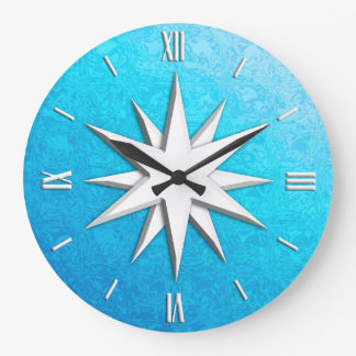Ivory compass rose - turquoise glass background large clock