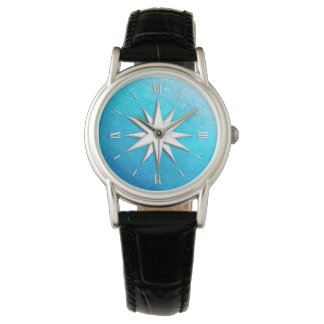 Ivory compass rose - turquoise glass background wristwatches
