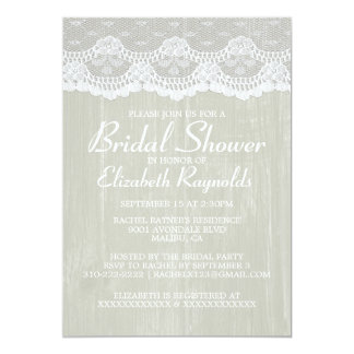 """Ivory Country Lace Bridal Shower Invitations 5"""" X 7"""" Invitation Card"""