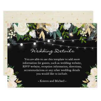 Ivory Cream Floral String Lights Wedding Details Card