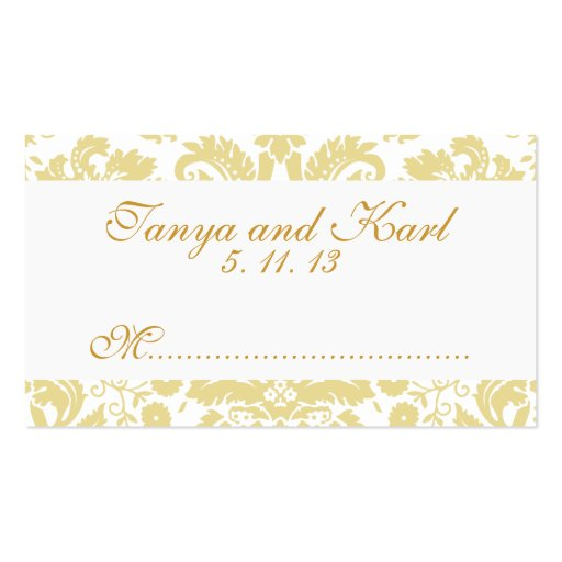 Ivory Cream Vintage Damask Wedding Place Cards Business Card