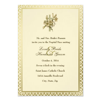 Ivory Cross Lilies Catholic Wedding Invitation