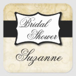 Ivory Damask Bridal Shower Square Stickers