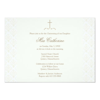 Ivory Damask Cream Cross Christening / Baptism Card