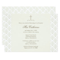 Ivory Damask Cream Cross Christening / Baptism Invitation