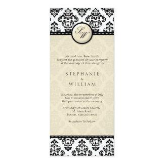 Ivory Damask Monogram Wedding Invitation