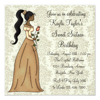 Ivory Damask Princess Sweet 16 Party Card