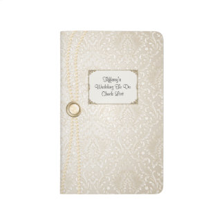 Ivory Damask Wedding Check List Pocket Journal