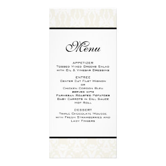 Ivory Damask Wedding Menu