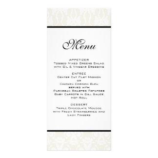 Ivory Damask Wedding Menu Customized Rack Card