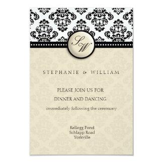 Ivory Damask Wedding Reception Card
