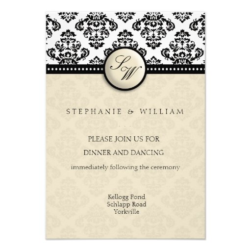 Ivory Damask Wedding Reception Card Personalized Invitation