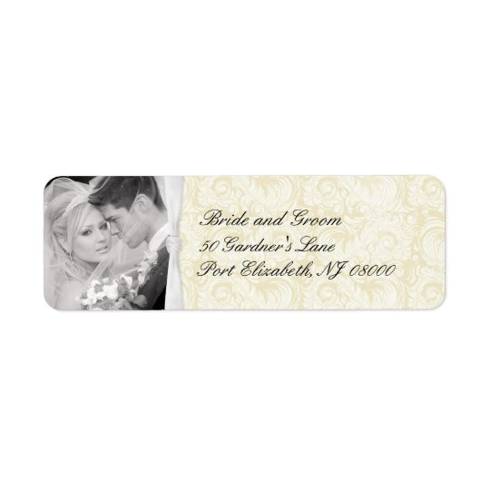 Ivory Damask Wedding Return Address Labels
