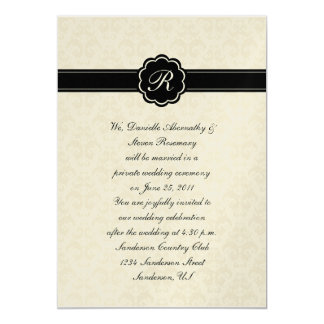 Ivory Damask with Black Monogram Post Wedding Cele 5x7 Paper Invitation Card