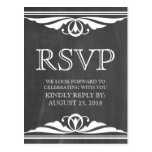 Ivory Deco Chalkboard RSVP Postcard
