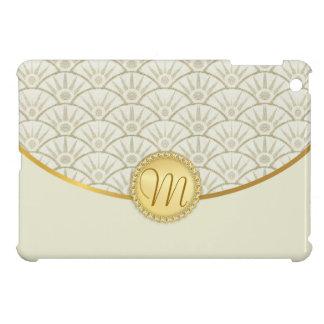 Ivory Ecru Gold Monogram Damask Pattern Case For The iPad Mini