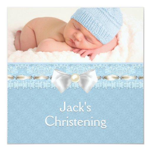 Ivory Eyelet Ribbon Boys Blue Photo Christening Personalized Announcement