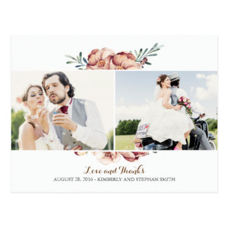ivory floral fall photo wedding thank you postcard