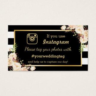 Ivory Floral Instagram Hashtag Wedding Insert Card