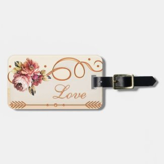 Ivory Floral Rose Gold Honeymoon Luggage Tag