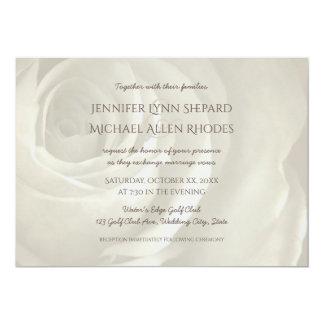 ivory floral simple elegant wedding invitation