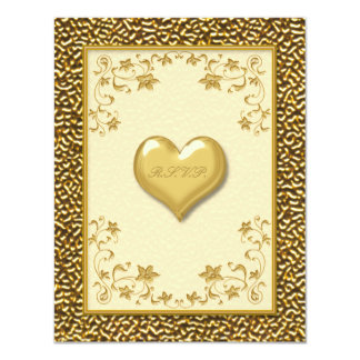Ivory Floral with Gold Heart RSVP Card Personalized Invitations