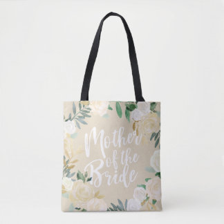 Ivory Floral Wreath Wedding Party Mother of Bride Tote Bag
