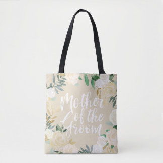 Ivory Floral Wreath Wedding Party Mother of Groom Tote Bag