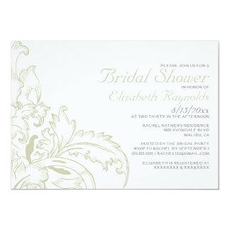 "Ivory Flourish Bridal Shower Invitations 5"" X 7"" Invitation Card"