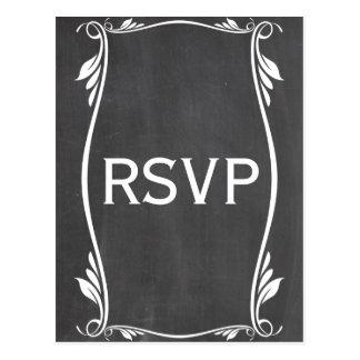 Ivory Flourish Chalkboard RSVP Postcard