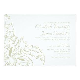 "Ivory Flourish Wedding Invitations 5"" X 7"" Invitation Card"