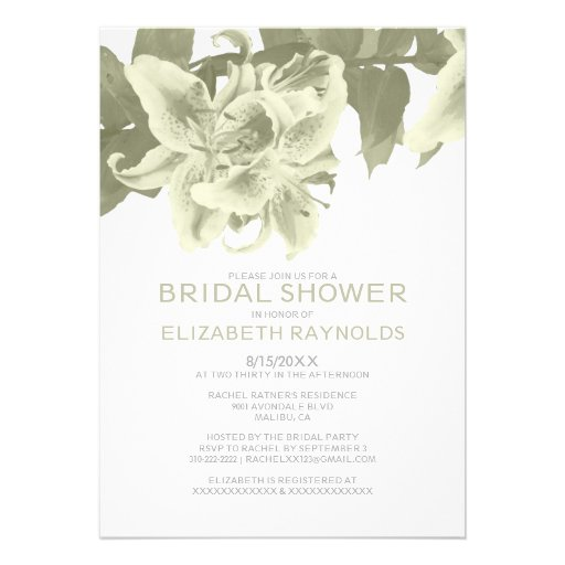 Ivory flower bridal shower invitations 5 x 7 invitation for Flower bridal shower invitations