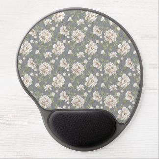 Ivory Flower Pattern Gel Mouse Pad