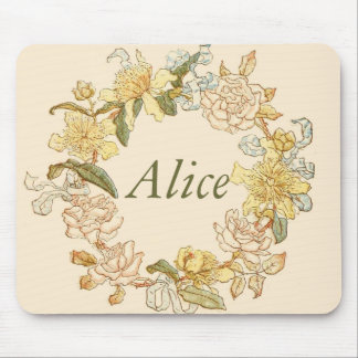 Ivory Flower Wreath Mouse Pad
